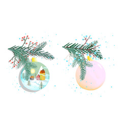 christmas or new years decoration balls isolated vector image