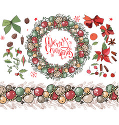 Christmas set with festive elements winte vector