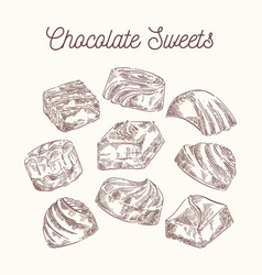 collection of sketch chocolate sweets vector image