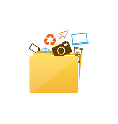 Color silhouette of folder with personal files vector