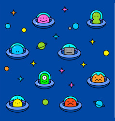 colorful ufo aliens cartoon pattern vector image