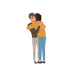 couple of young men standing together and hugging vector image