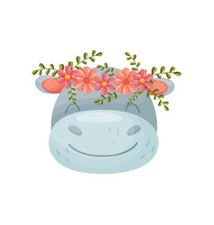 Cow head with flower wreath flora and fauna vector