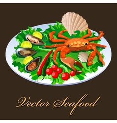 Crab in salad vector