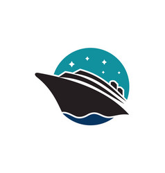 cruise ship on sea abstract travel logo icon vector image