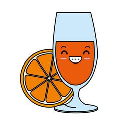 cup with orange juice kawaii character vector image