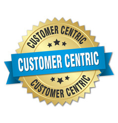 Customer centric round isolated gold badge vector