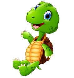 Cute green waving turtle vector