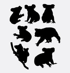 Cute koala animal silhouettes vector
