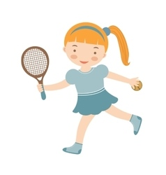 Cute little girl playing tennis vector