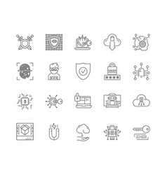 Cyber security line icons signs set vector