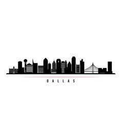 Dallas skyline horizontal banner black and white vector