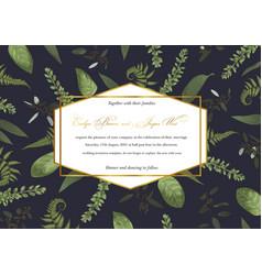 Designer geometric golden frame with green leaves vector