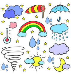 Doodle of weather theme various element vector
