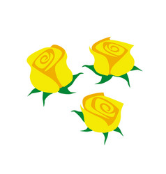 drawing yellow flowers on a white background vector image