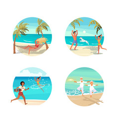 dream scene with beautiful beach in round design vector image