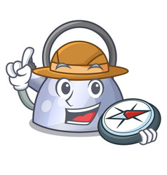 explorer whistling kettle cartoon on the stove top vector image