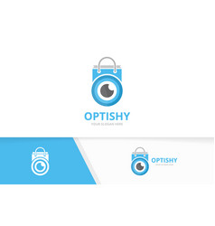 eye and shop logo combination optic and vector image