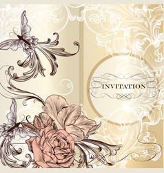 Fashion invitation card with roses vector