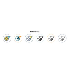 Favorites icon in filled thin line outline and vector