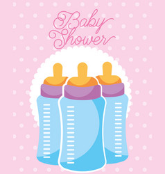 feeding bottles baby shower card vector image