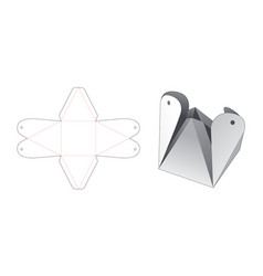 Folded triangle shaped packaging die cut template vector