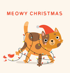 funny christmas card with cat vector image