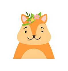 Funny fox wearing a wreath flowers cute vector
