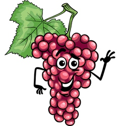 Funny red grapes fruit cartoon vector