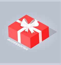 gift with white ribbon and bow flat design vector image