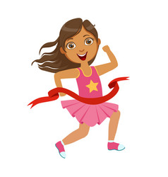 Girl run to finish line first a colorful vector