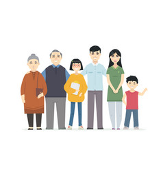 Happy chinese family - cartoon people characters vector