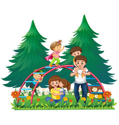 Happy family at playground vector