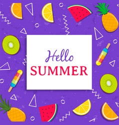 hello summer card with tropical fruit ice cream vector image