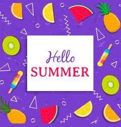 Hello summer card with tropical fruit ice cream vector