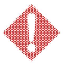 hexagon halftone warning icon vector image