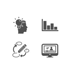 Histogram idea and keywords icons online video vector