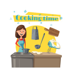 Housewife woman at kitchen cooking stove vector
