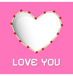 I Love You Theme Safety Matches Heart on Pink vector