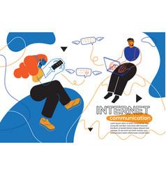 Internet communication - colorful flat design vector