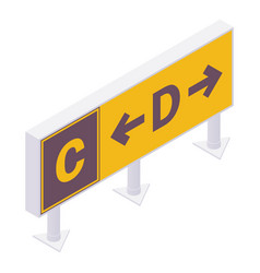 Isometric taxiway location sign for airport vector