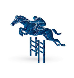 Jockey riding horse hose racing vector