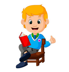 kids boy reading book vector image