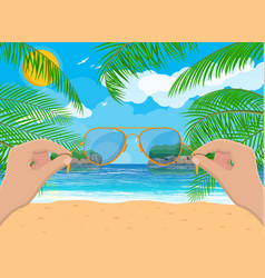 landscape beach hand with sunglasses vector image