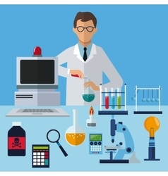 Medical scientist experiment laboratory working vector