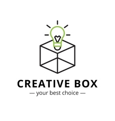 minimalistic light bulb in a box logo vector image