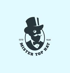Mister top hat logo vector