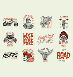 motorcycles and biker club templates vintage vector image
