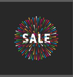 multicolored fireworks lights with text sale vector image