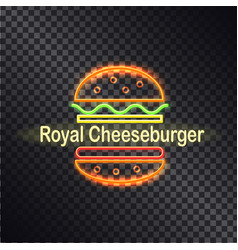 Neon icon of royal cheeseburger colorful banner vector